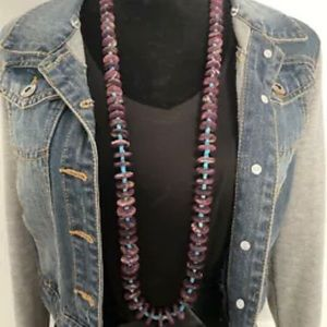 Jewelry - S.S.Purple Spiny Oyster W Turquoise Bead Necklace